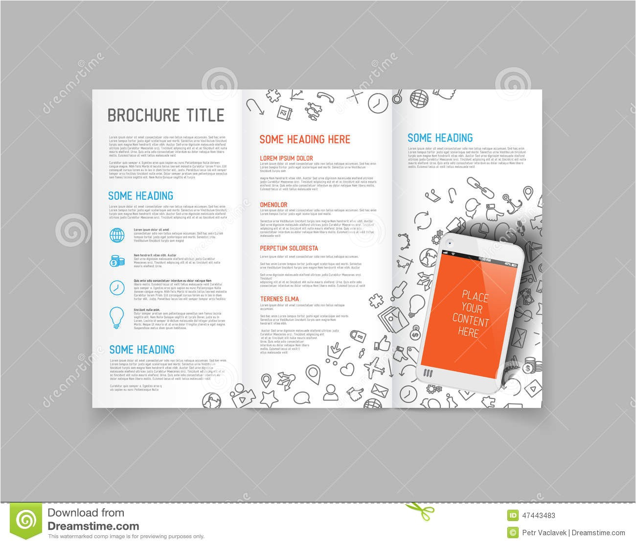stock illustration modern vector three fold brochure design template leaflet flyer smartphone image47443483