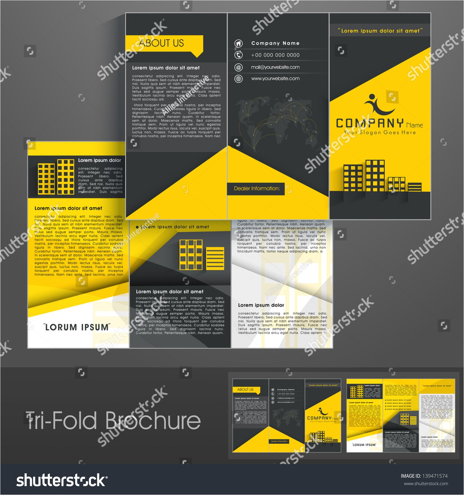 professional business three fold flyer template 139471574