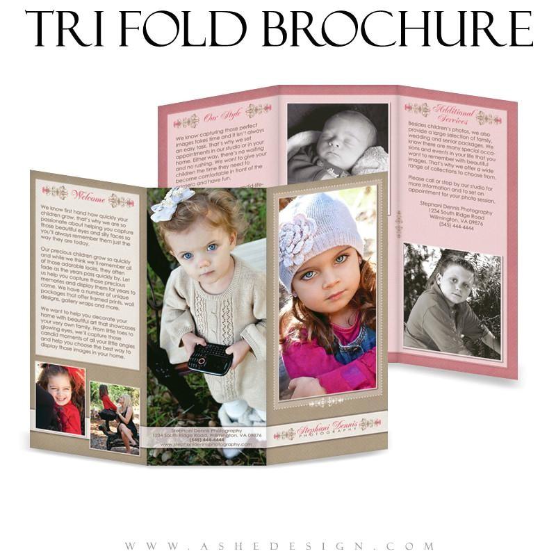 8 5x11 tri fold brochure raspberry cream