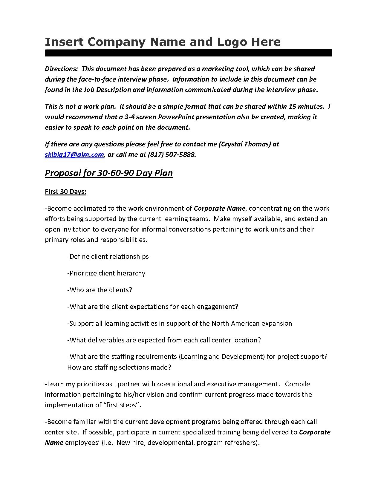 post 30 60 90 interview examples 31896