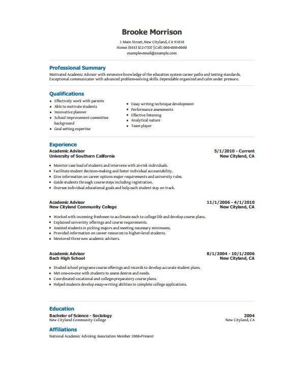Academic Resume Template Academic Resume Template 6 Free Word Pdf Document