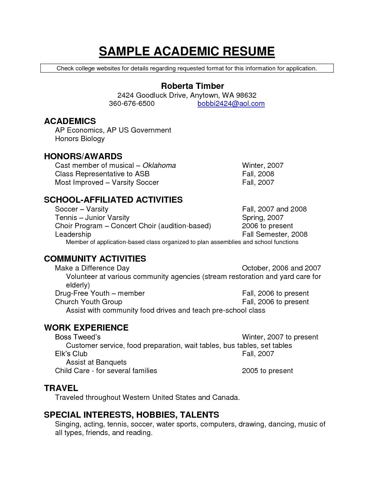 academic resume template