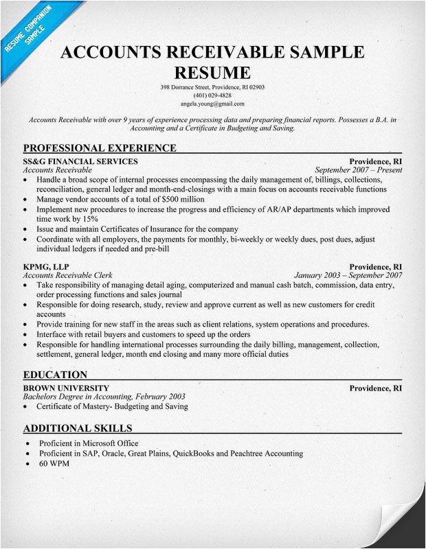 Accounts Receivable Specialist Resume Sample Accounts Receivable Resume Example Resumecompanion Com