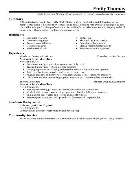 Accounts Receivable Specialist Resume Sample Best Accounts Receivable Clerk Resume Example Livecareer