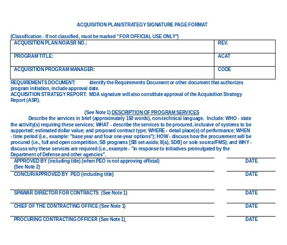 sample acquisition strategy template