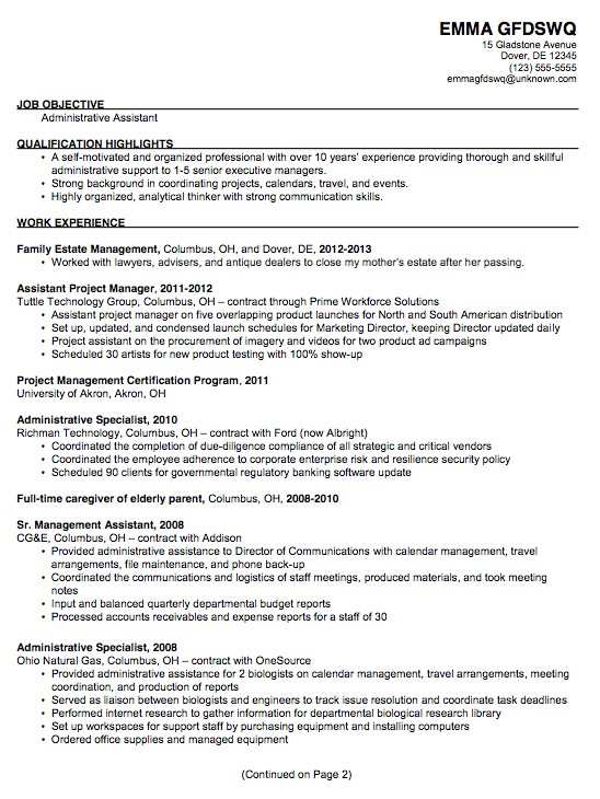 Administrative assistant Resume Sample 2014 Chronological Resume Sample Admin assistant