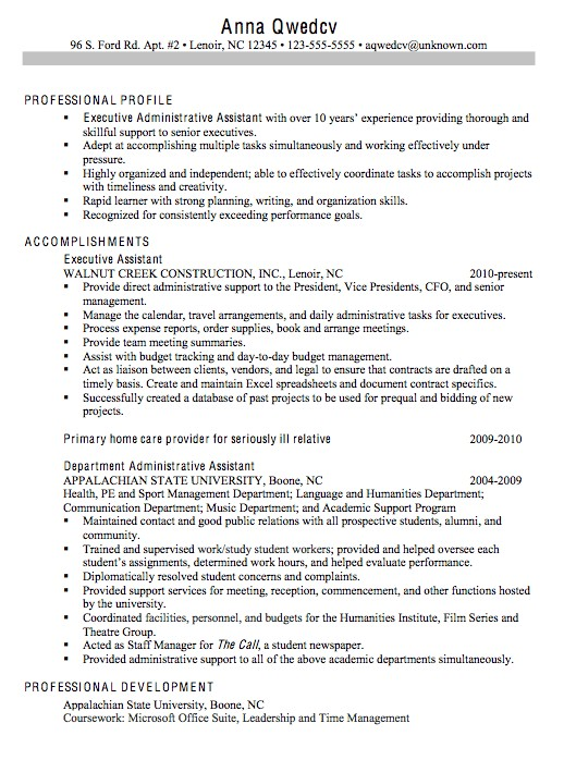 Administrative assistant Resume Sample 2014 Chronological Resume Sample Executive Administrative