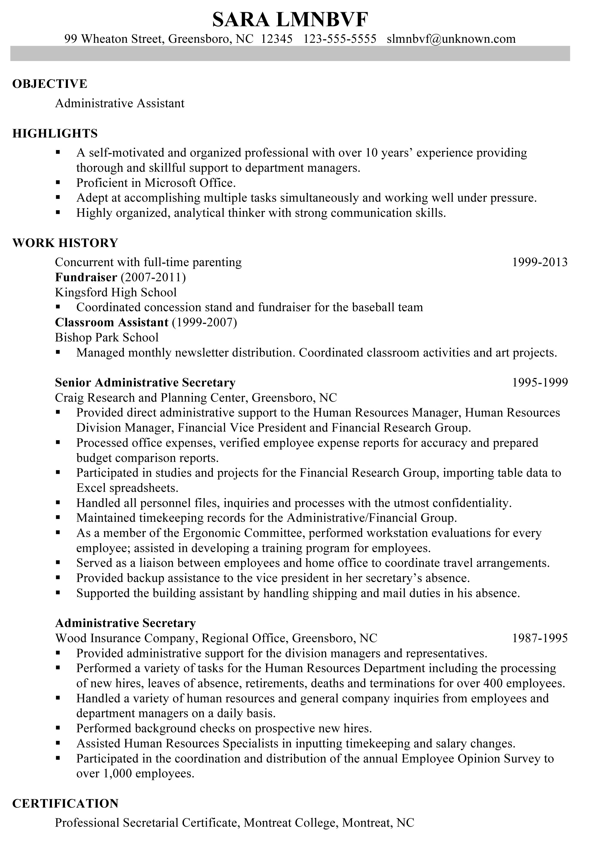 chronological resume sample administrative assistant