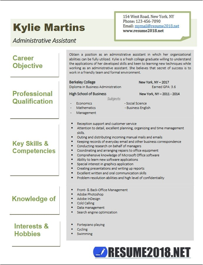 administrative assistant resume examples 2018