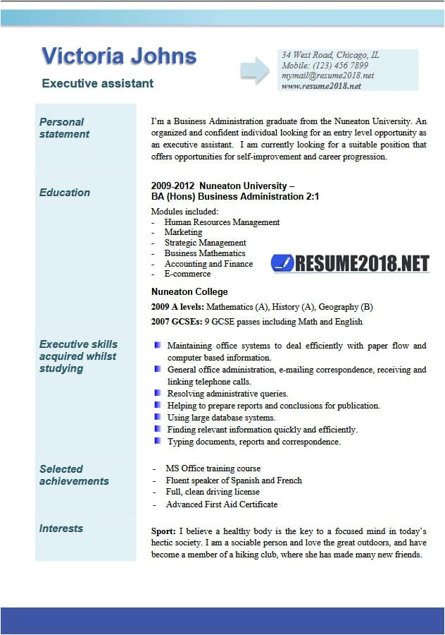student resume examples 2018