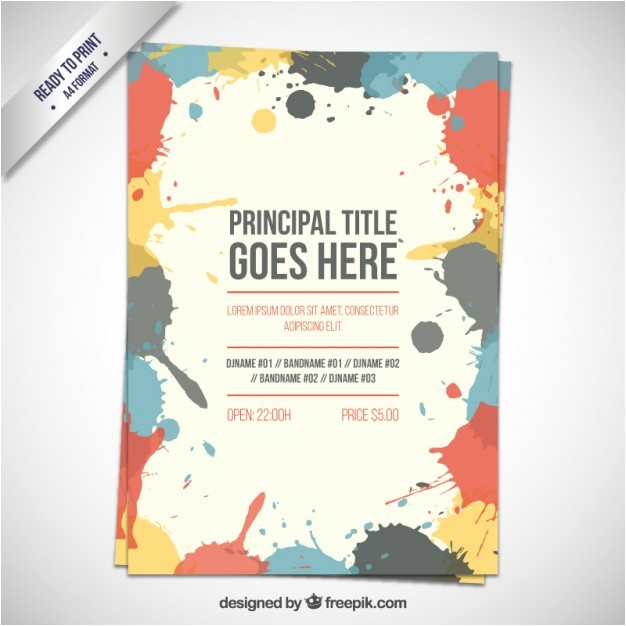 Advertisement Brochure Templates Free Flyer Template with Paint Splashes Vector Premium Download