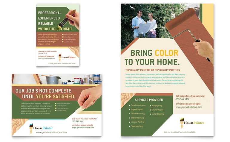 painter painting contractor flyer ad templates gb0570701d