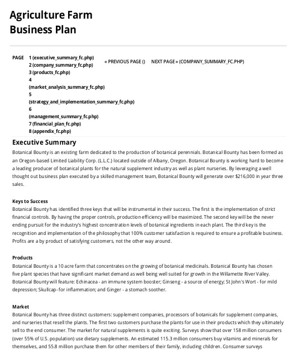 Agricultural Business Plan Template Farm Business Plan Template 9 Free Sample Example