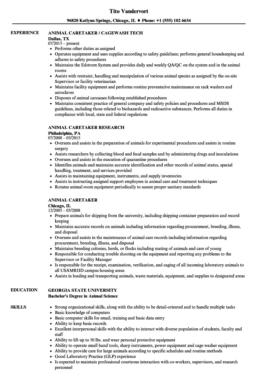 animal caretaker resume sample