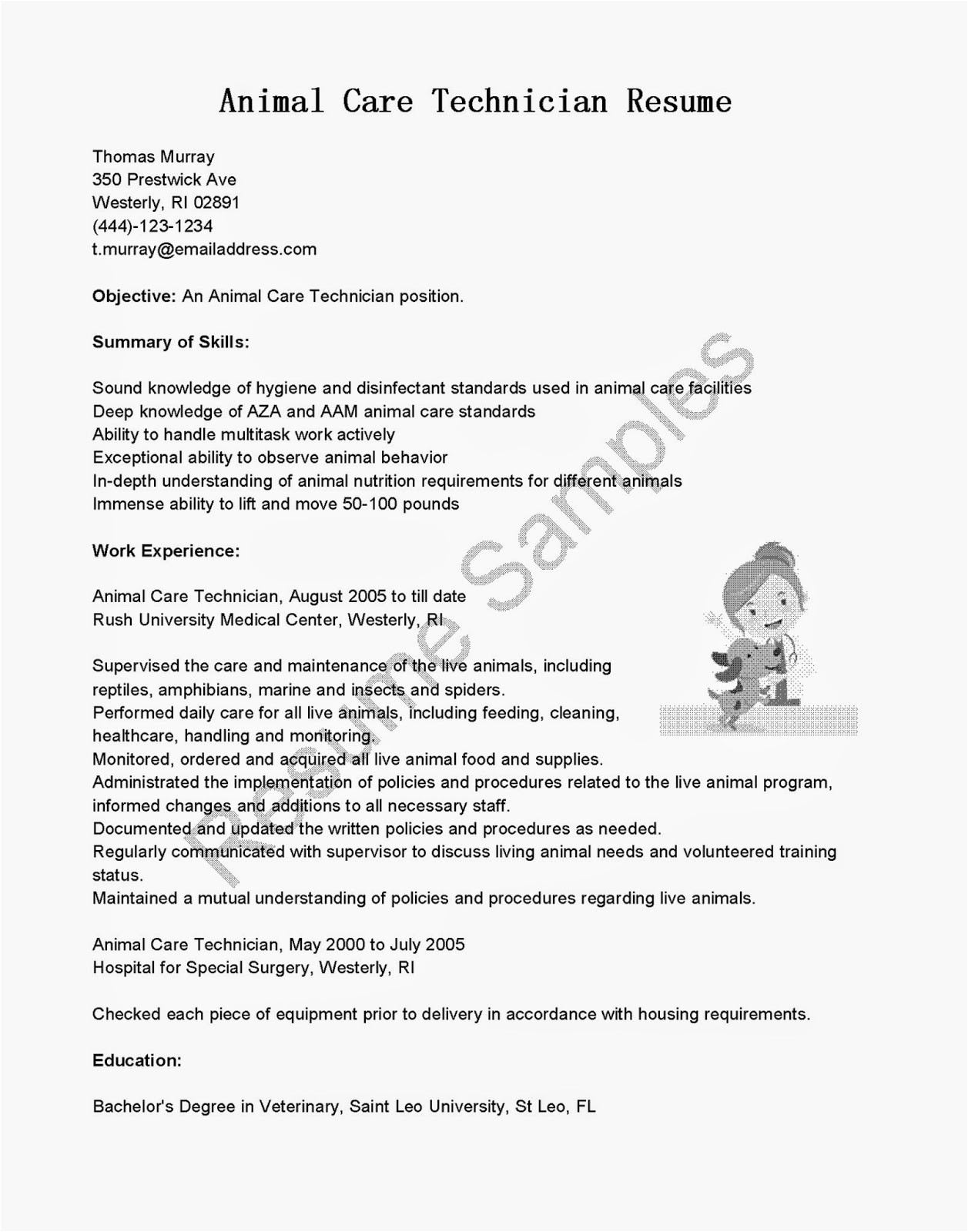 animal care technician resume sample