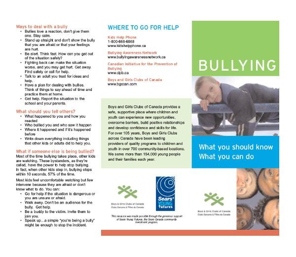 Anti Bullying Brochure Template Bullying Brochure Template 11 Free Pdf Documents