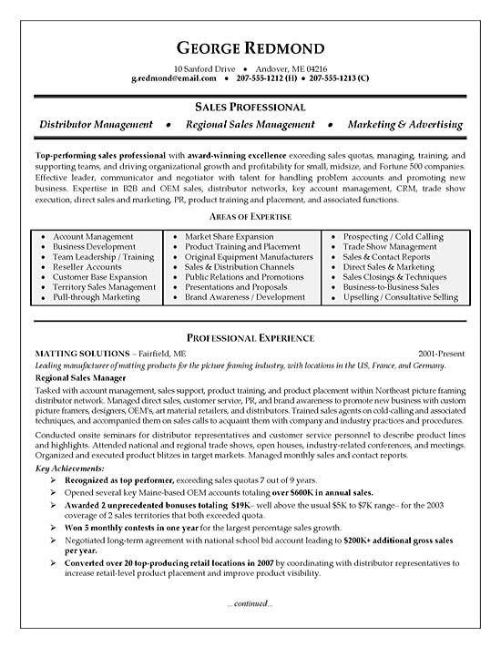 Area Of Expertise Resume Sample Regional Sales Resume Example