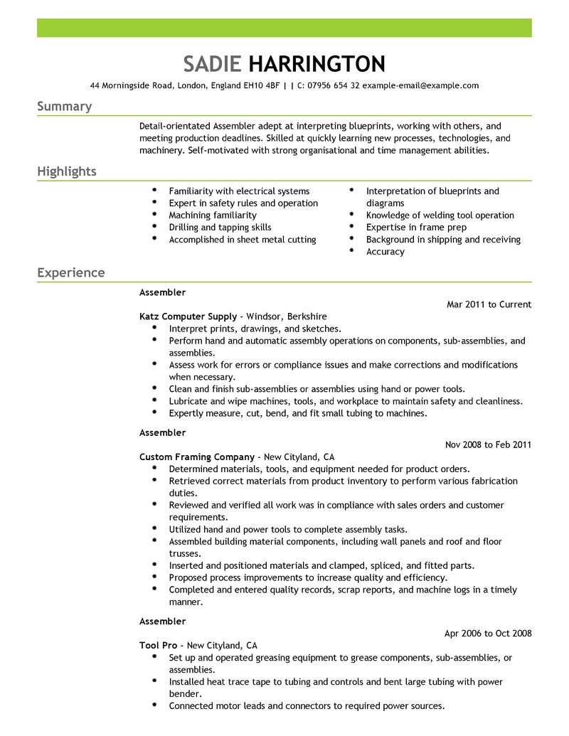 Assembler Resume Samples Best assembler Resume Example Livecareer