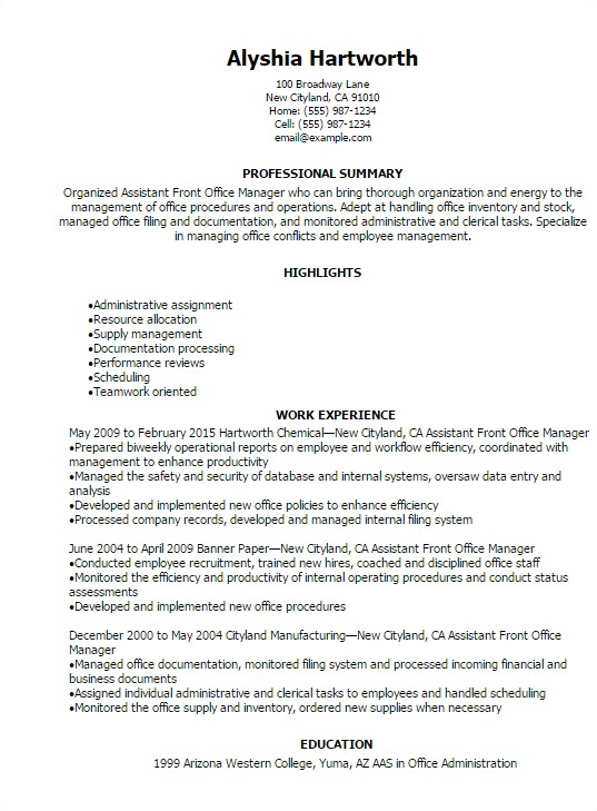 assistant front office manager resume