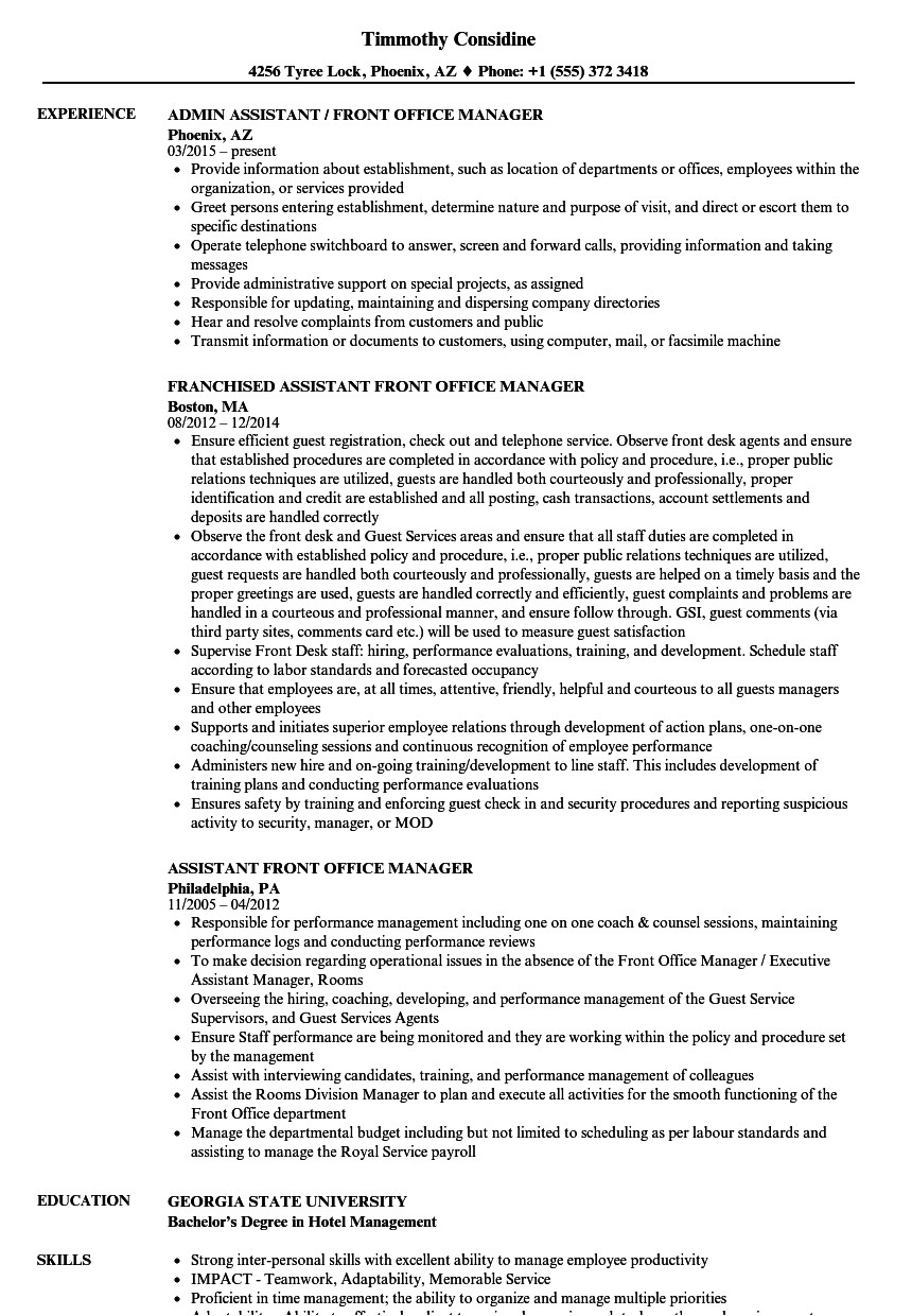 Assistant Front Office Manager Resume Sample assistant Front Office Manager Resume Samples Velvet Jobs