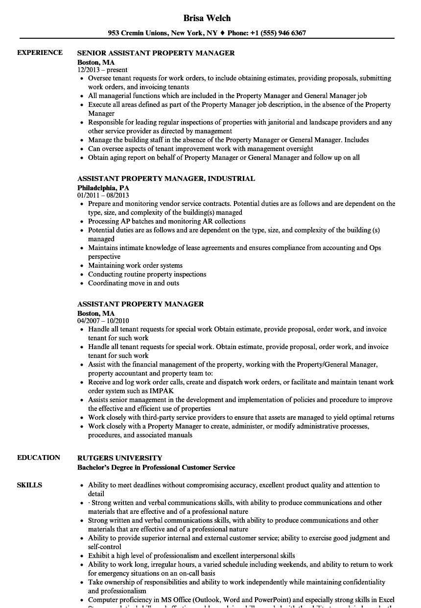 Assistant Property Manager Resume Sample assistant Property Manager Resume Samples Velvet Jobs