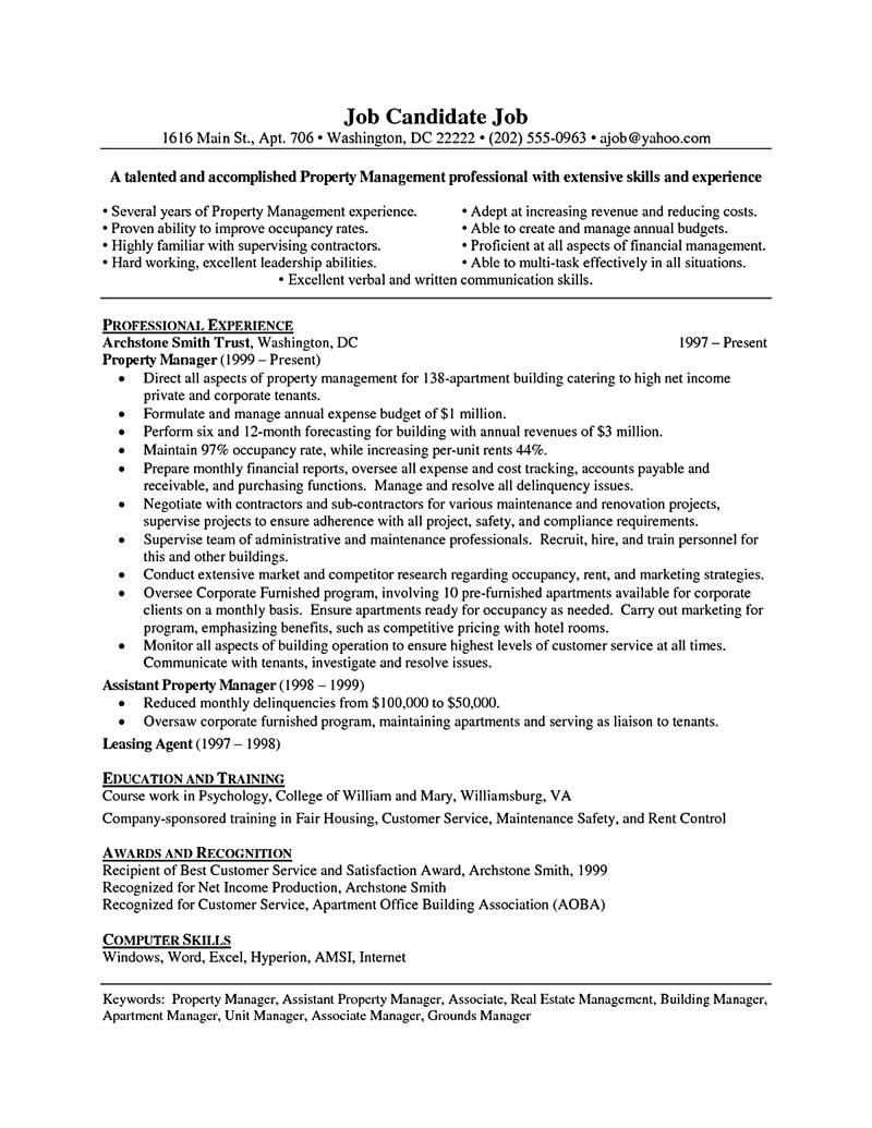Assistant Property Manager Resume Sample assistant Property Manager Resume Template