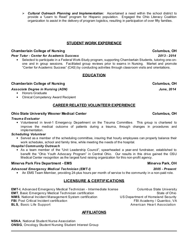 associates degree resume