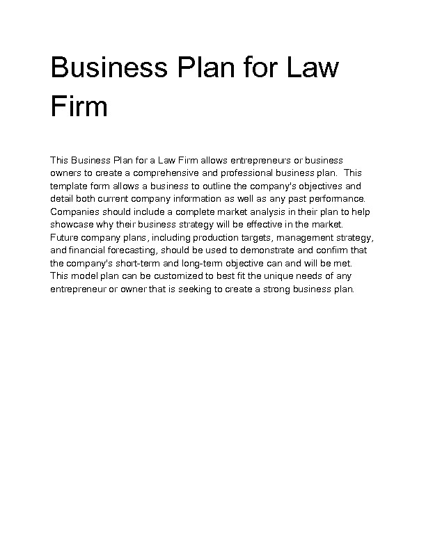 Attorney Business Plan Template Welcome to Docs 4 Sale