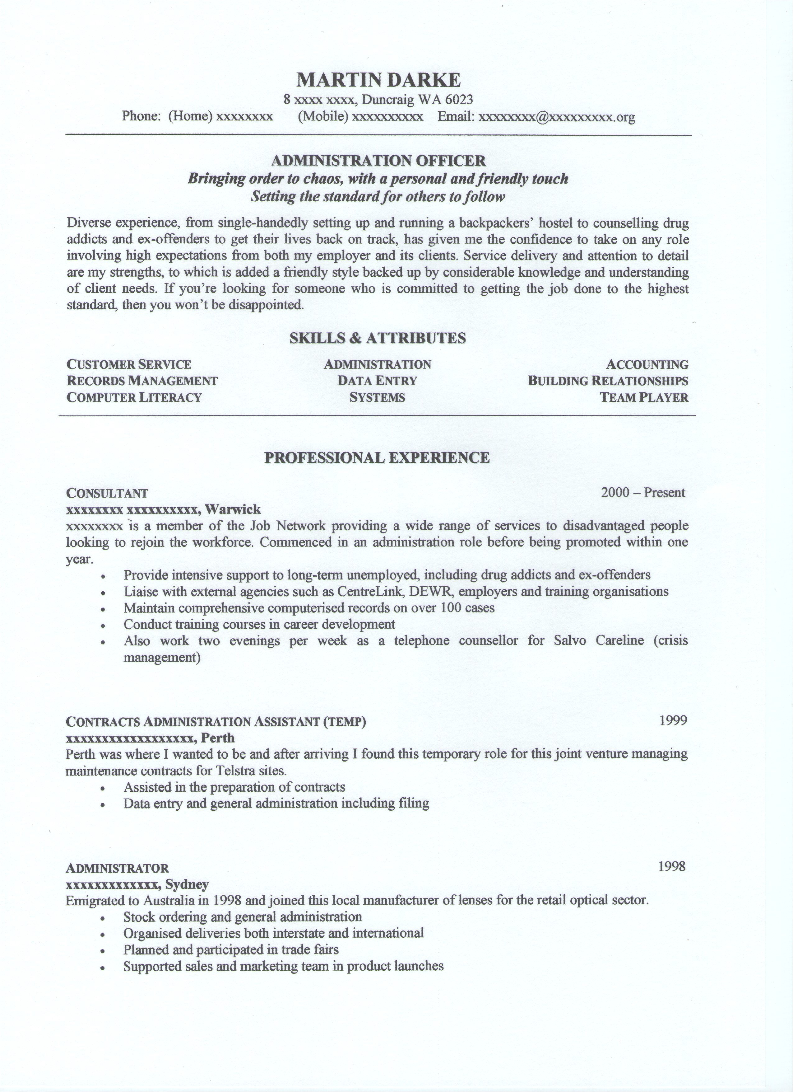 administration resume examples australia