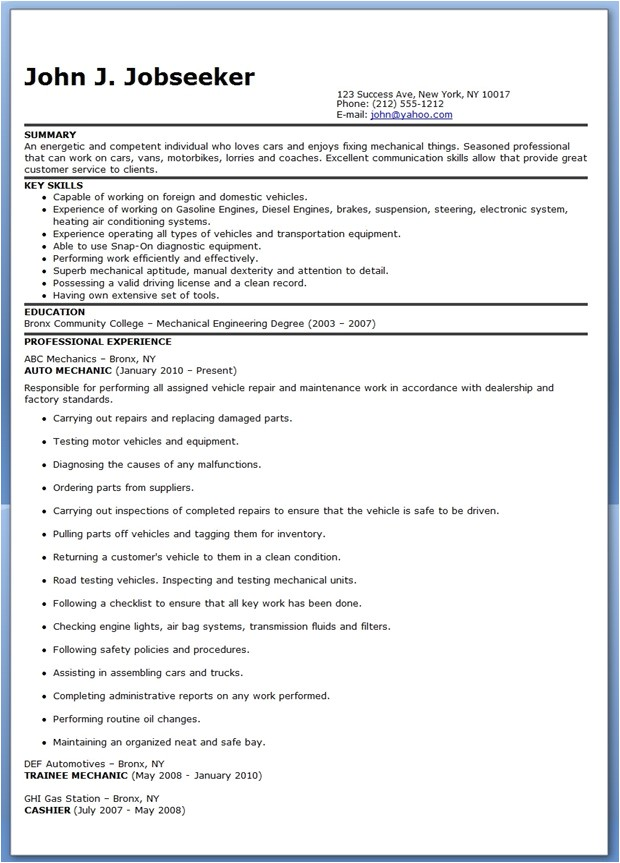 auto mechanic resume sample free