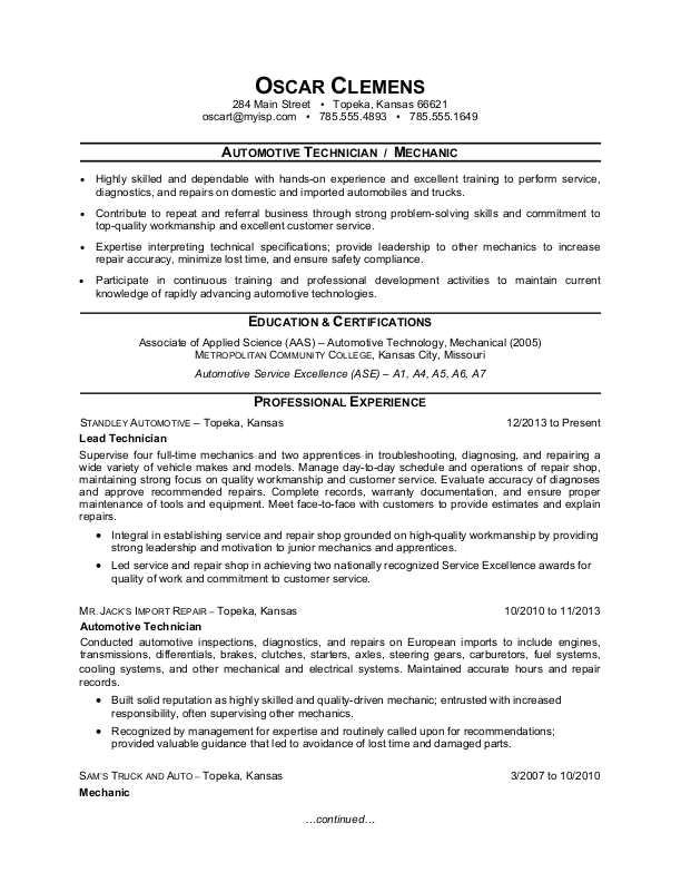 sample resume auto mechanic