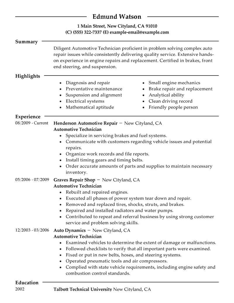 Auto Mechanic Resume Template Car Mechanic Resume Auto Skills Automotive Technician Pdf