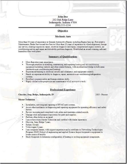 mechanic auto resume