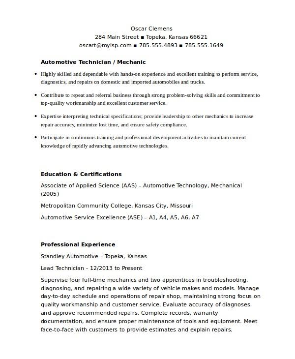 Auto Mechanic Resume Template Mechanic Resume Template 6 Free Word Pdf Document