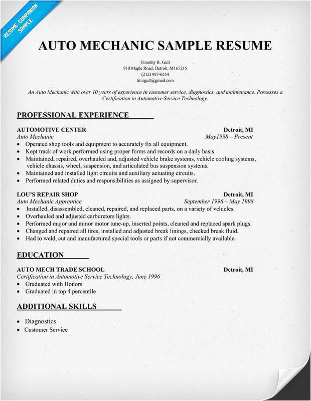 printable auto mechanic resumes