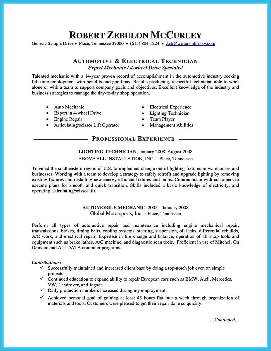 writing concise auto technician resume