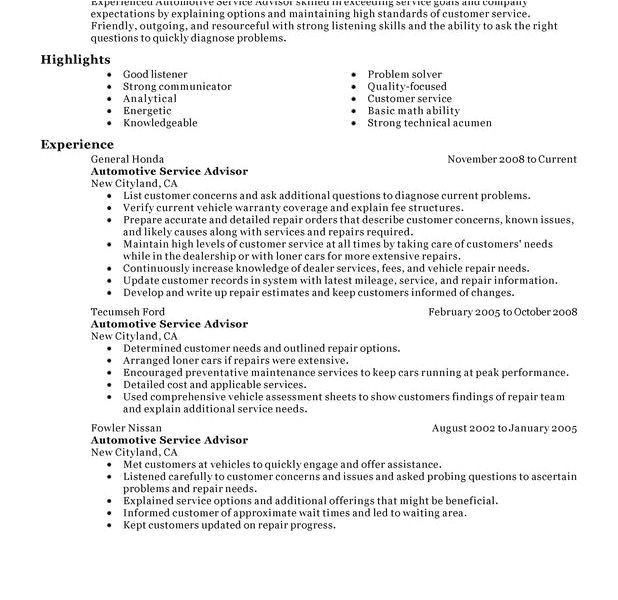 Auto Service Advisor Resume Sample Auto Service Advisor Resume Hvac Cover Letter Sample