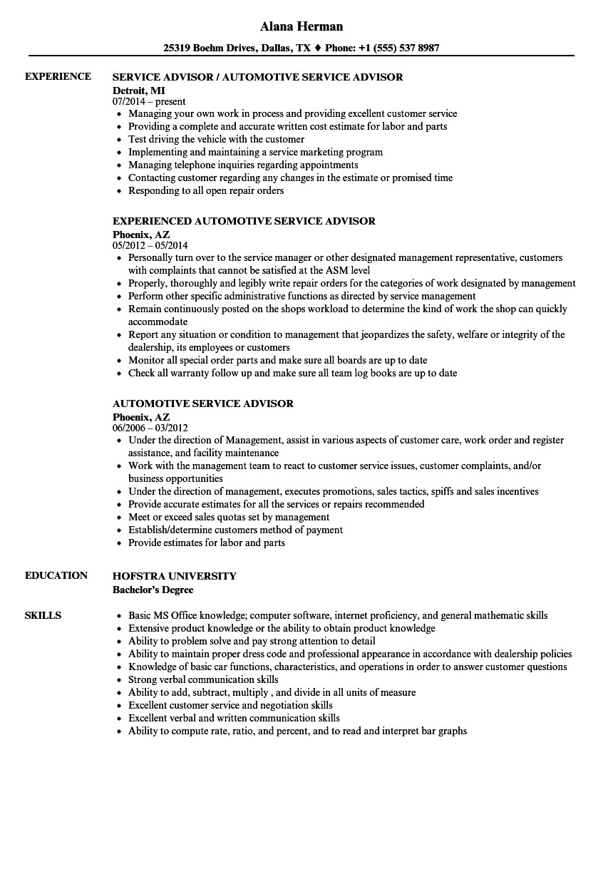 automotive service advisor resume sample