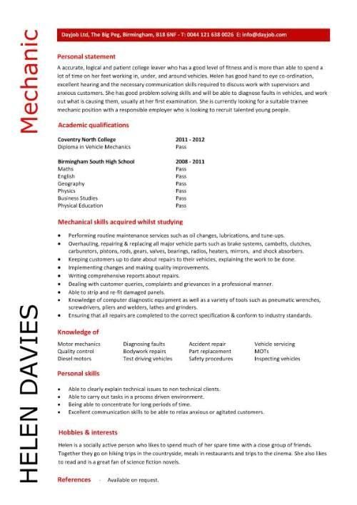 auto mechanic resume