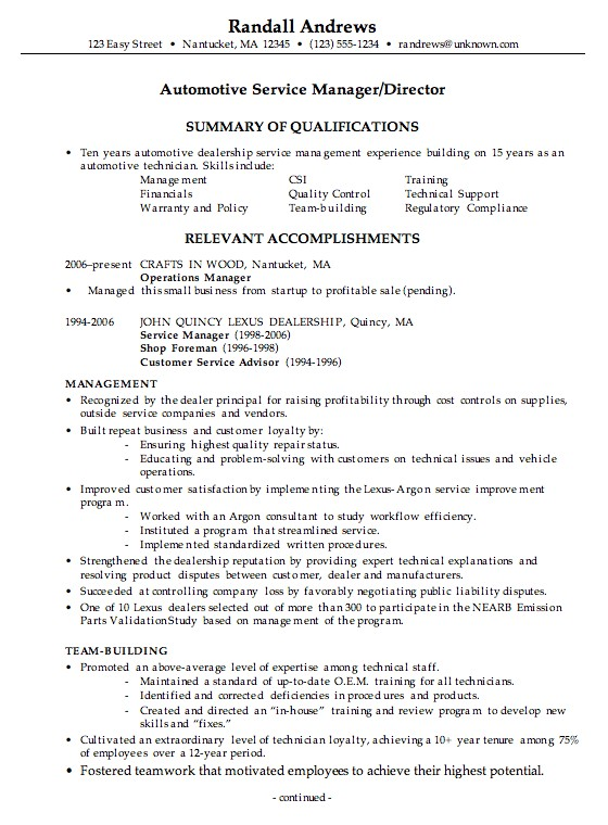 Automotive Resume Templates Combination Resume Example Automotive Service Manager