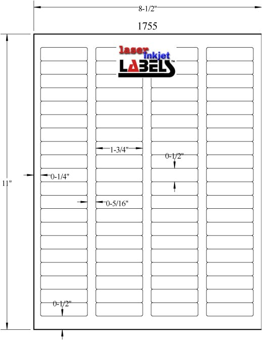 Avery 1 2 X 1 3 4 Label Template 1 75 Quot X 5 Quot Removable White Labels Laser Inkjet Labels
