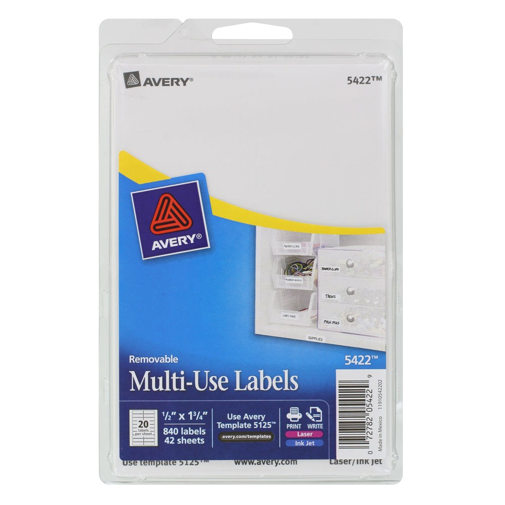 Avery 1 2 X 1 3 4 Label Template Quot Avery Removable Multi Use Labels 1 2 X 1 3 4 White 840