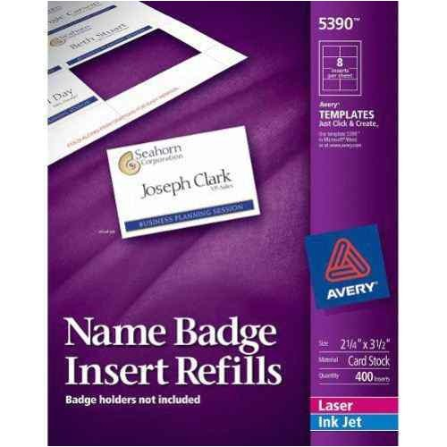 Avery 1 2 X 1 3 4 Template Avery Name Badge Insert Refills 2 1 4 Quot X 3 1 2 Quot 8up 50