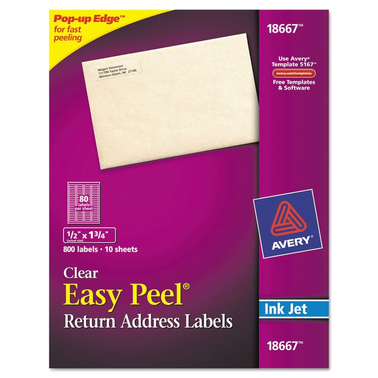 Avery 1 2 X 1 3 4 Template Clear Easy Peel Mailing Labels Inkjet 1 2 X 1 3 4 800