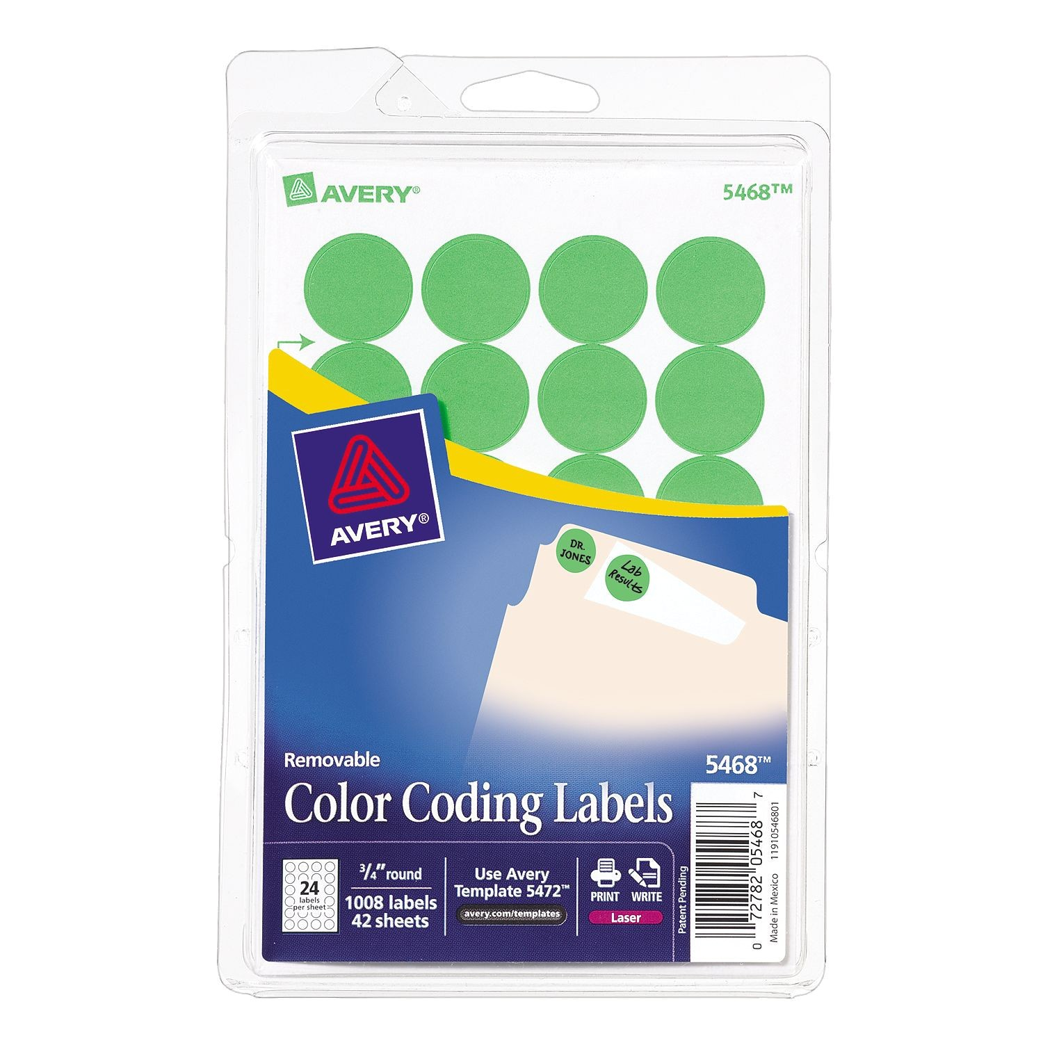 Avery 1.5 Inch Round Labels Template Avery Neon Green Color Coding Labels 5468 3 4 Quot Round