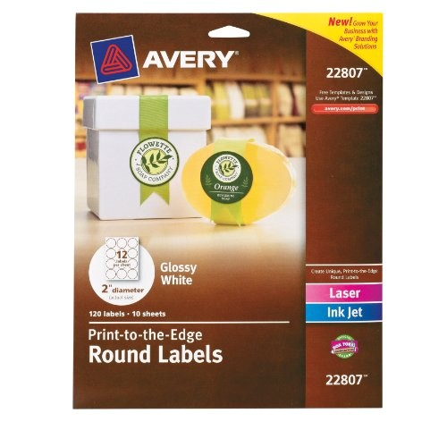 avery permanent print to the edge round labels laserinkjet 2 5 inch brown kraft pack of 225 22808 10397