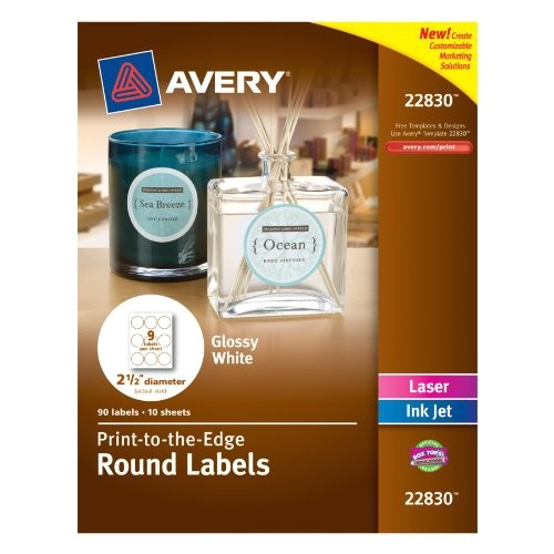 avery print to the edge round labels glossy white 25 inch diameter 90 labels 22830