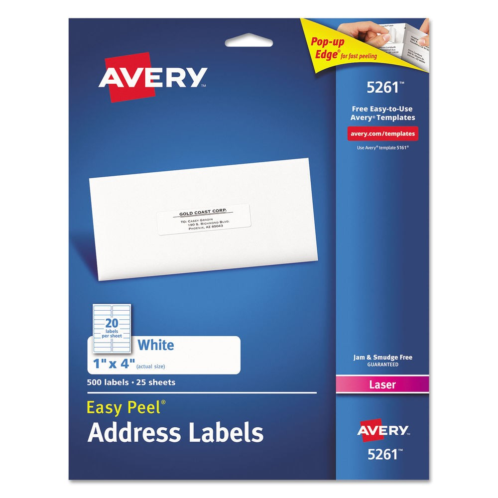 Avery 1 X 4 Label Template Avery Easy Peel Laser Address Labels 1 X 4 White 500 Pack