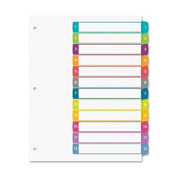Avery 12 Tab Table Of Contents Template Avery Ready Index Table Of Contents Dividers 12 Tab Set