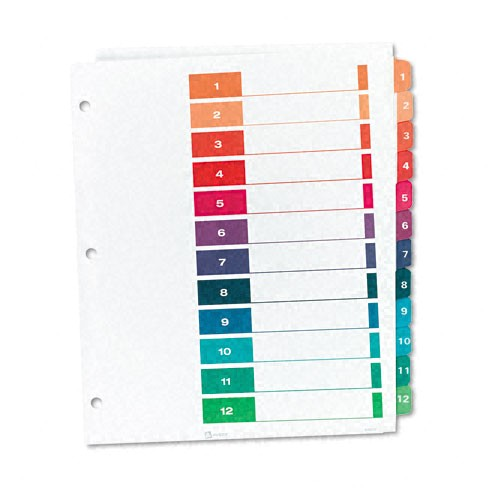 Avery 12 Tab Template Avery 1 12 Tab 11 Quot X 8 5 Quot Contemporary Multicolor Dividers